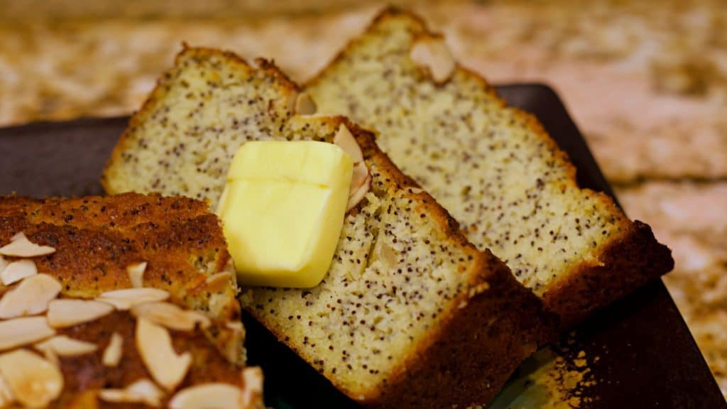 Keto Almond Poppyseed Bread Slices Wide Closeup